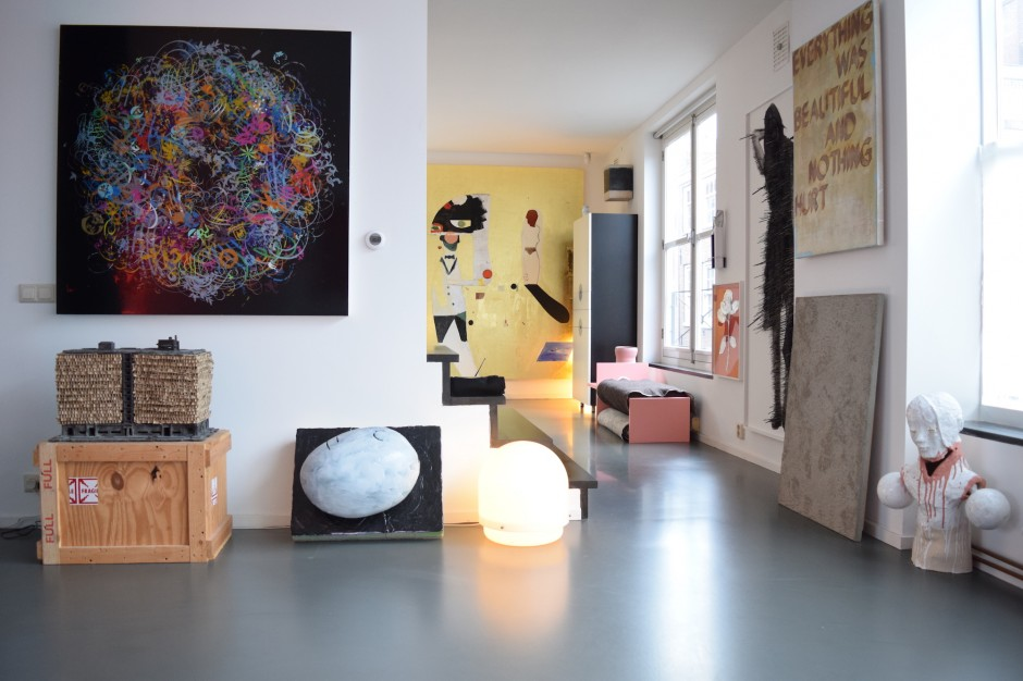 Works from left to right by Ryan McGinness, Rob Voerman, Mike Pratt, Dave McDermott, Johannes Girardoni, Magali Reus, Nathan Azhderian, Amie Dicke, Jonathan Marshall, Johan Tahon. Courtesy of Henk Drosterij.