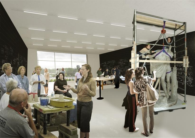 Artist impression - Exhibition space Public Art Depot Museum Boijmans Van Beuningen Rotterdam. Design: MVRDV i.s.m. Kossmann.dejong.