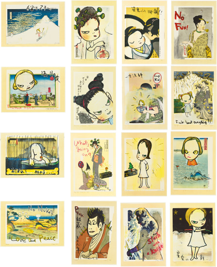 Yoshitomo Nara, In The Floating World (set of 16), 1999, reworked woodcut colour xerox on paper, each 41.3 x 28.5 cm, estimate HK$800,000 – 1,200,000/ US$103,000 – 154,000 © Yoshitomo Nara