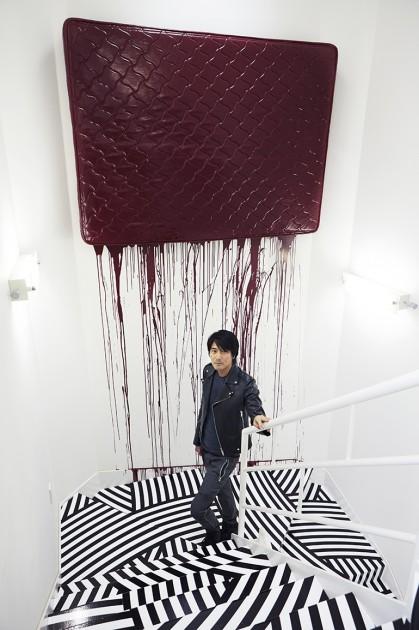 "Jim Lambie, ""The Strokezzs Stairs (Black & White)"", 2016, and ""I didn't know I loved You Til' I Saw You Rock'n Roll"", 2008. Photo: Satoshi Miyazawa. Courtesy of Kazunari Shirai."