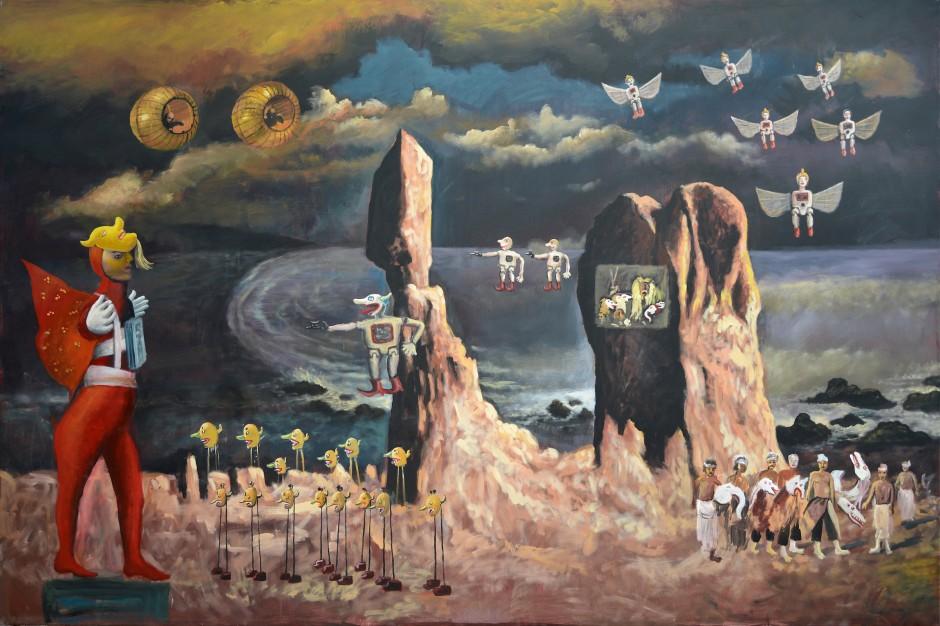 Heri Dono, The Odyssey of Heridonology (detail), 2014, acrylic on canvas, 200 x 3000 cm (10 Panels). (c) Heri Dono. Courtesy of Mizuma Gallery / Studio Kalahan.