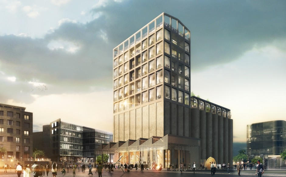 Zeitz MOCAA Exterior. Rendering of the exterior of the Zeitz Museum of Contemporary Art Africa. Courtesy of Jochen Zeitz.