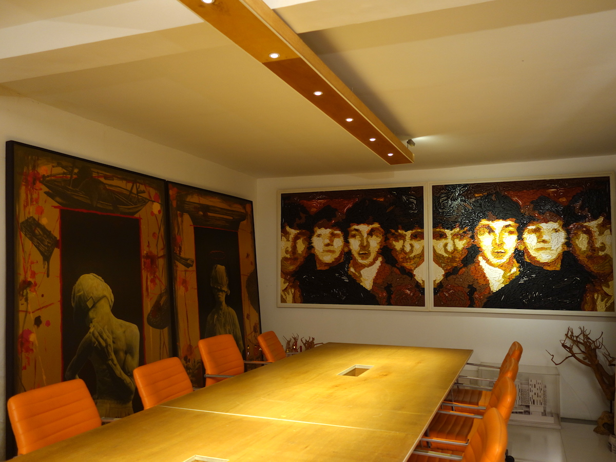 Two paintings in the meeting room of the architecture firm by J. Jafin W. and M. Reggie Aquara (left to right). Courtesy of Cosmas Gozali.