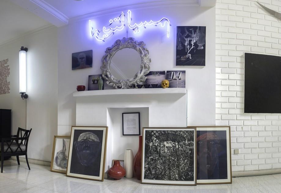 A neonwork by Leila Pazooki, then counter-clockwise: Tala Madani, Akiq A W, Ugo Untoro, Tisna Sanjaya, Danh Vō, Ugo Untoro, Nindityo Adipurnomo, Miriam Cahn. Courtesy of Natasha Sidharta.