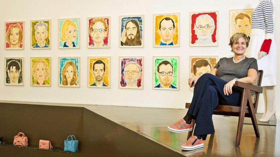 Gloria, Princess of Thurn und Taxis in front of her paintings at an exhibition in Berlin. Courtesy of Wolf Lux.