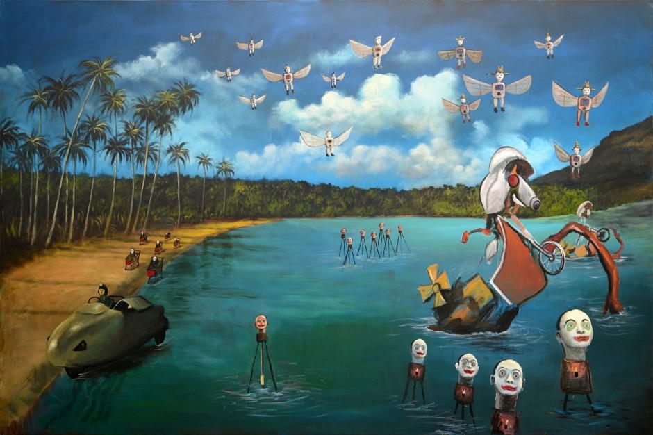 Heri Dono, The Odyssey of Heridonology (detail), 2014, acrylic on canvas, 200 x 3000 cm (10 Panels). (c) Heri Dono. Courtesy of Mizuma Gallery / Studio. Kalahan.