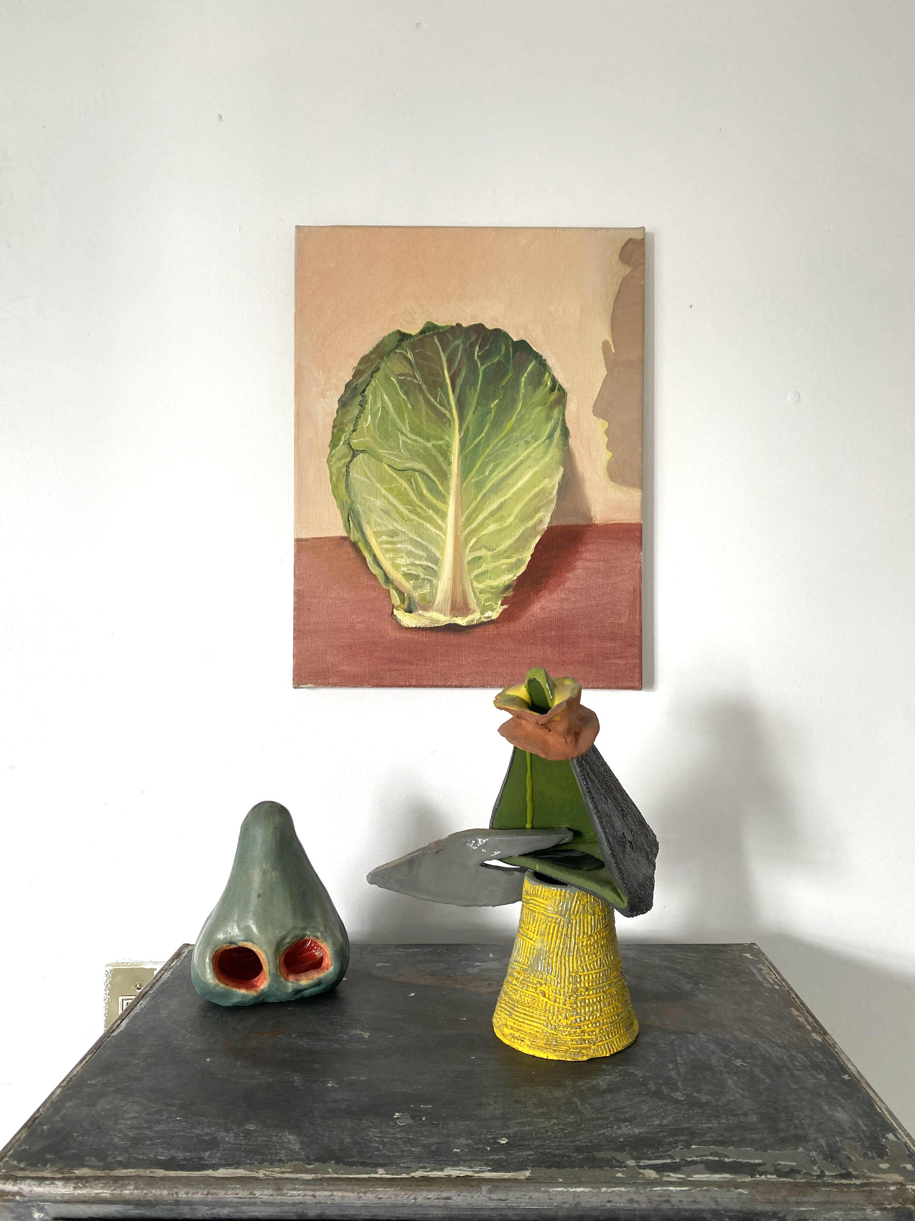 Two interesting pieces by Allison Katz and Arlene Shechet. Courtesy of Chris Sharp.