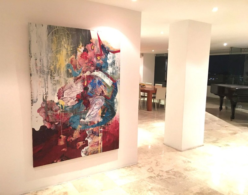A piece by Hermann Mejia displayed at home interior. Courtesy of Antonio Mugica.