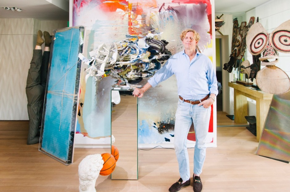 Antoine de Werd in front of his collection (from left to right: Yves Scherer, Jackie Saccoccio, Heringa Van Kalsbeek, Tribal art from Africa and Oceania and Just Quist). Courtesy of Antoine de Werd.