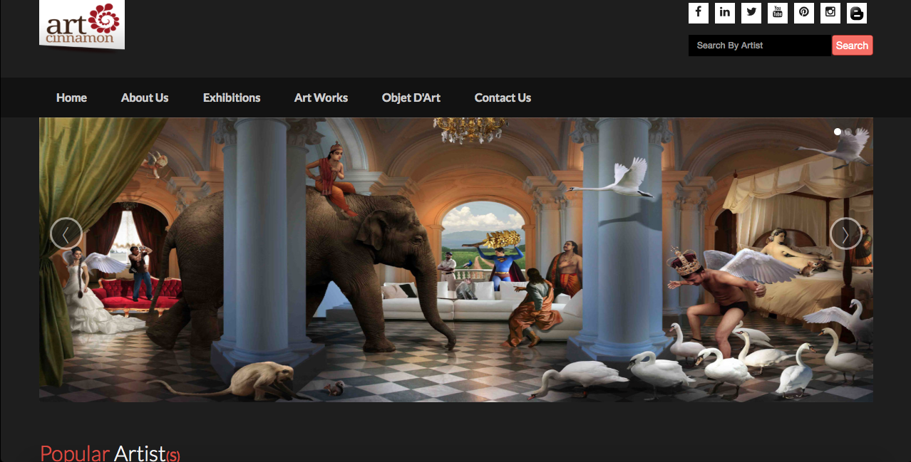Screenshot of Art Cinnamon's website.