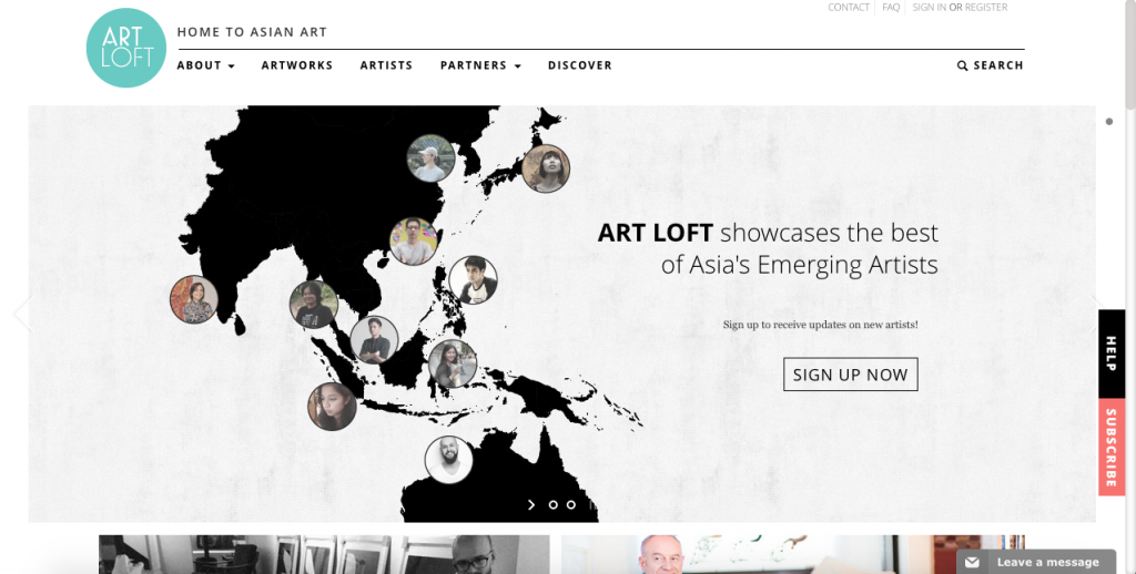Screenshot of ArtLoft's website. Courtesy of Larry's List.