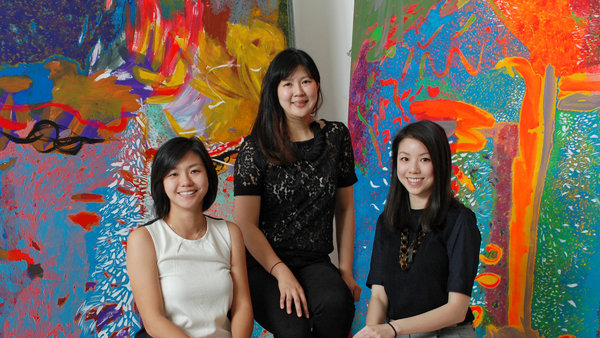The founders of ArtLoft: from left: Qiuyan Tian, Michelle Chan and Alexandra Eu. Photo from:  tmagazine.blogs.nytimes.com