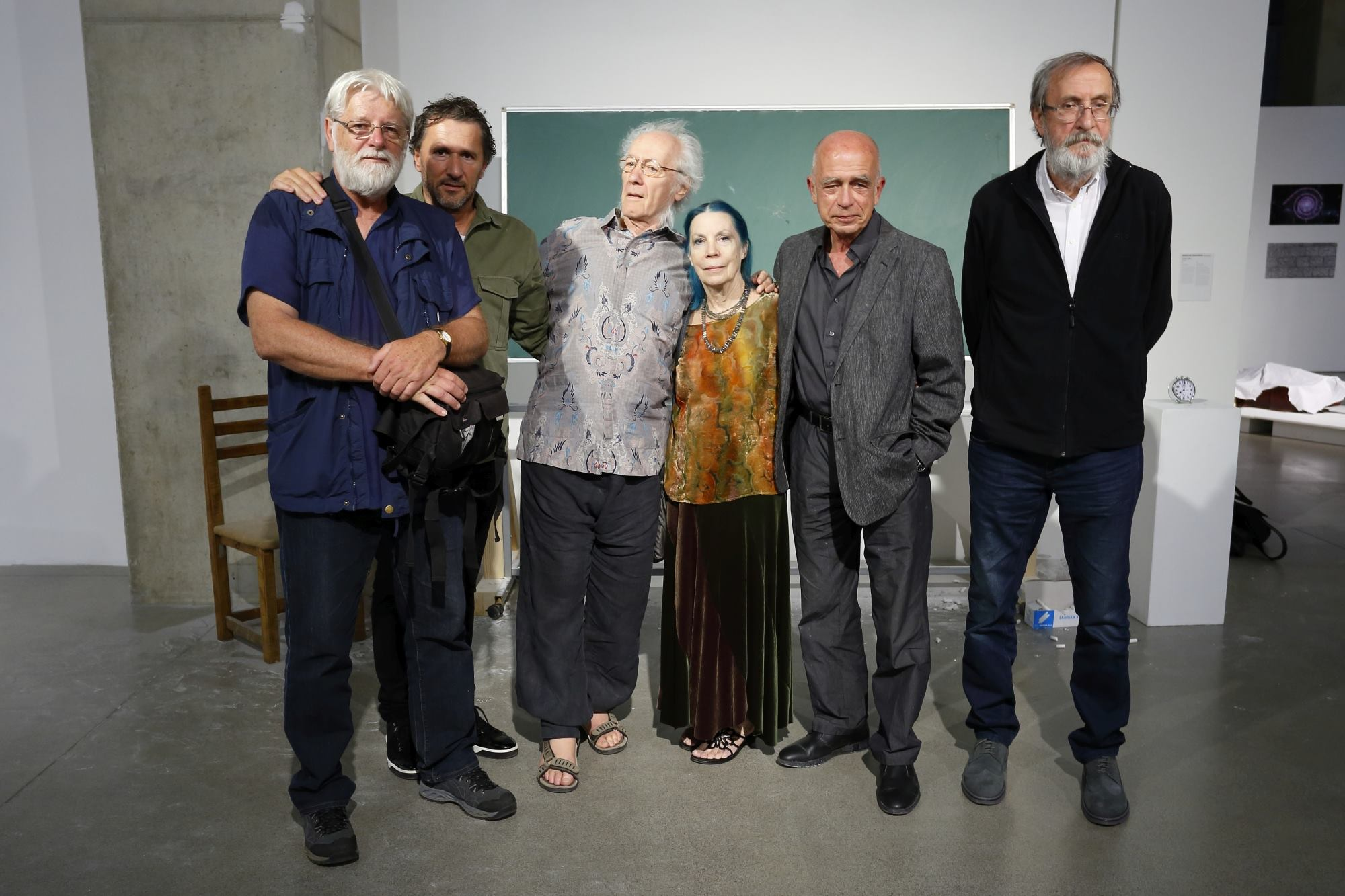 'Artist on Vacation' 2016  Valamar exhibition, of the project organised by the Institute for the Research of the Avant-Garde, at the MSU Zagreb: (left to right) Vladimir Gudac (Croatia), Marinko Sudac, Philip Corner and Phoebe Neville (Italy USA), Jaroslaw Kozlowski (Poland), Raša Todosijević (Serbia).