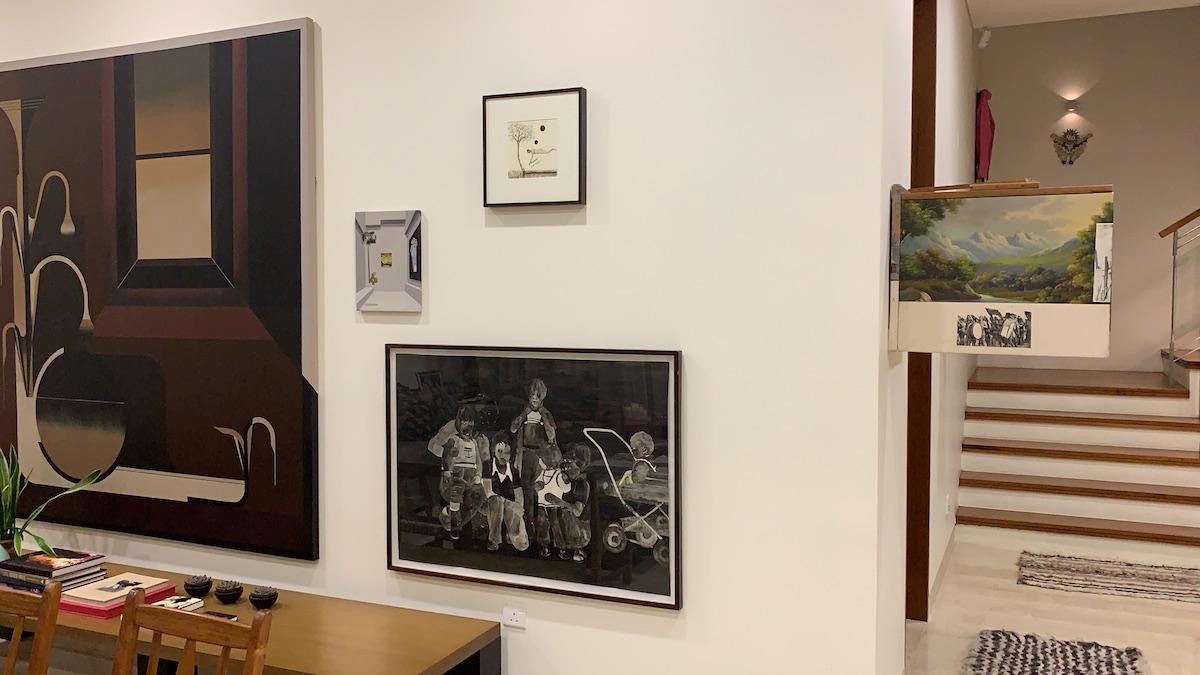 Paintings on the wall by Julian Presbisch, Max Gomez Canle, Antonio Oba, Maximo Pedraza, Jose Luis Landet (left to right). Courtesy of Benedicta M. Badia de Nordenstahl.