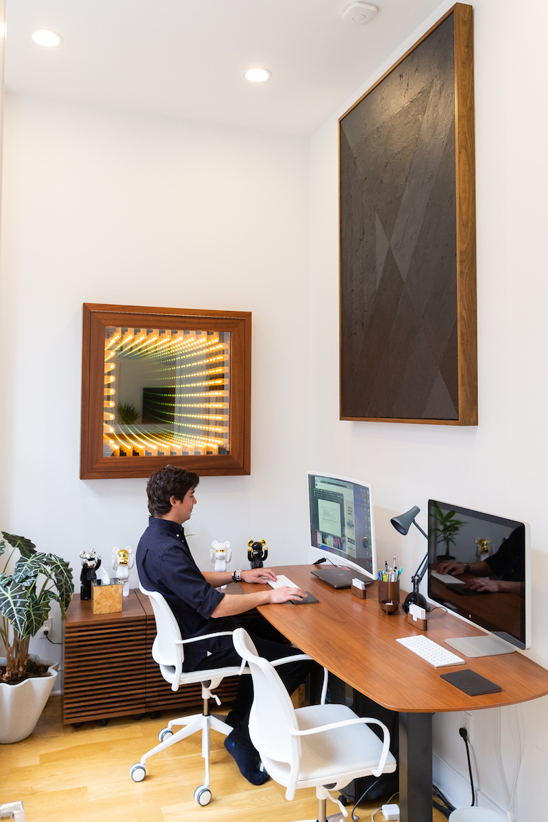 "Julian Hoeber, Execution Changes #75 (XS, Q1, LMJ, DC, Q2, LRJ, DC, Q3, LRG, LC, Q4, CRJ, LC), 2013, right above George's desk, together with a Light & Space work ""Skylight"" by Ivan Navarro. Photo: Masha Maltsava. Courtesy of George Merck."