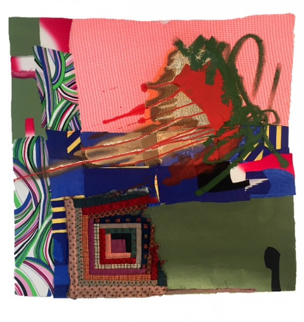 Collage by Sanford Biggers, 2015, fabric and oil stick. Photo courtesy of Jane Wesman.