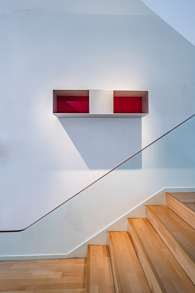 A work by Donald Judd above the stairs. Photo: TR_ConceptnVisual. Courtesy of Evan Chow.