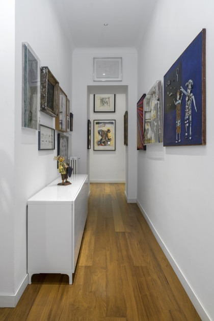 Francesco Taurisano's apartment. In the corridor, works by Piero Dorazio, Jacques Villéglé, Mario Persico, Guido Biasi among others. Naples, Italy. Courtesy of CollezioneTaurisano. Photo: Maurizio Esposito.