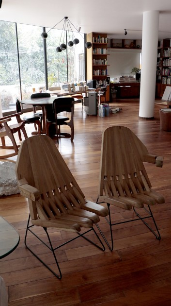 "Patricia Martín's home interior with ""Hand Chairs"" by Pedro Reyes. Courtesy of Patricia Martín."