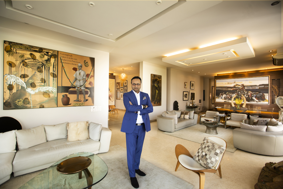 Durjoy Rahman in his art-filled apartment in Dhaka. Courtesy of Durjoy Rahman.