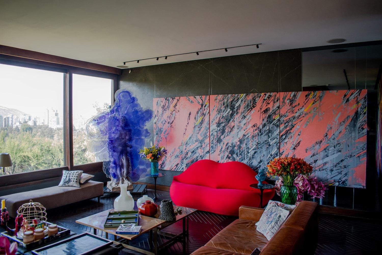 "Nick Van Woert, ""Untitled""; Grace Weinrib, ""Pencil (triptych)""; and Mae West, lipstick sofa- Dali. Photo: Andrés Herrera. Courtesy of Juan Yarur."
