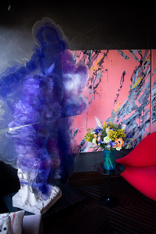 "Nick Van Woert, ""Untitled""; Grace Weinrib, ""Pencil (triptych)""; and Mae West lipstick sofa- Dali (partially seen). Photo: Andrés Herrera. Courtesy of Juan Yarur."