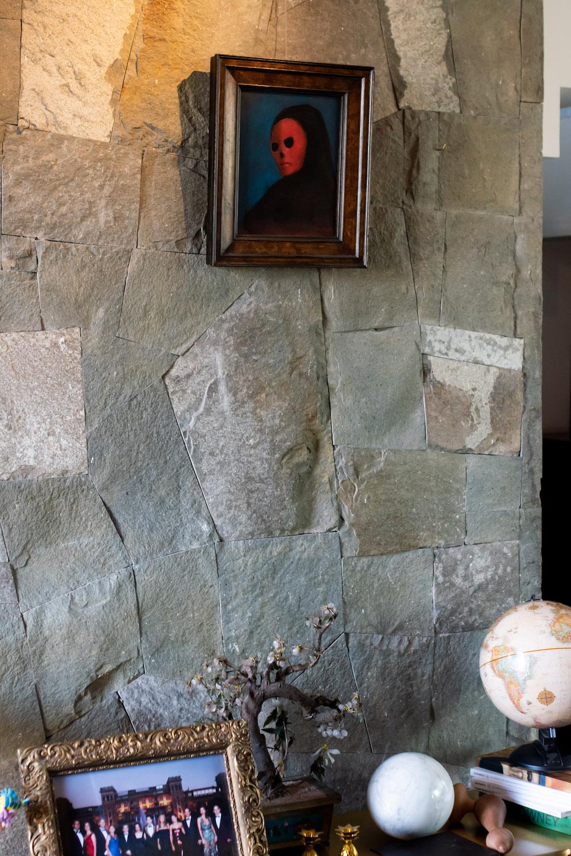 "Leonor Fini, ""La Masque de la Mort Rouge""; Cristian Salineros, ""Model for Untitled sculpture"" (partially seen on table); Bronze table, Leda by Salvador Dalí. Photo: Andrés Herrera. Courtesy of Juan Yarur."