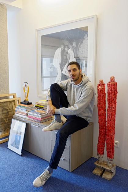 Othman Lazraq in his office in Casablanca, artworks by Malik Sidibé, Norman Catherine and Dominique Zinkpè. Courtesy of Othman Lazraq. © Guillaume Mollé