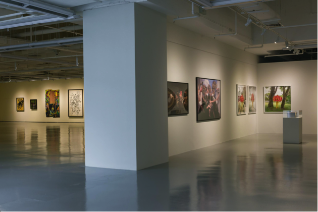 Left (Mr Yeap's collection): works by Semsar Siahaan, Le Quang Ha, Wong Hoy Cheong and Shi Hu; right (Dr Chia's collection): works by Jeremy Hiah, Lee Wen, and Wong Hoy Cheong. Two Houses (2018), installation view, Institute of Contemporary Arts Singapore, LASALLE College of the Arts. Photo: Weizhong Deng. Courtesy of Dr. John Chia.