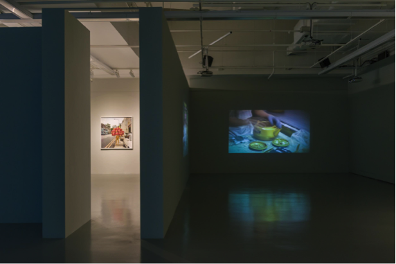 Works from Dr John Chia's collection: (left) Strange fruit, Lee Wen, (right) Purification, FX Harsono. Two Houses (2018), installation view, Institute of Contemporary Arts Singapore, LASALLE College of the Arts. Photo: Weizhong Deng. Courtesy of Dr. John Chia.