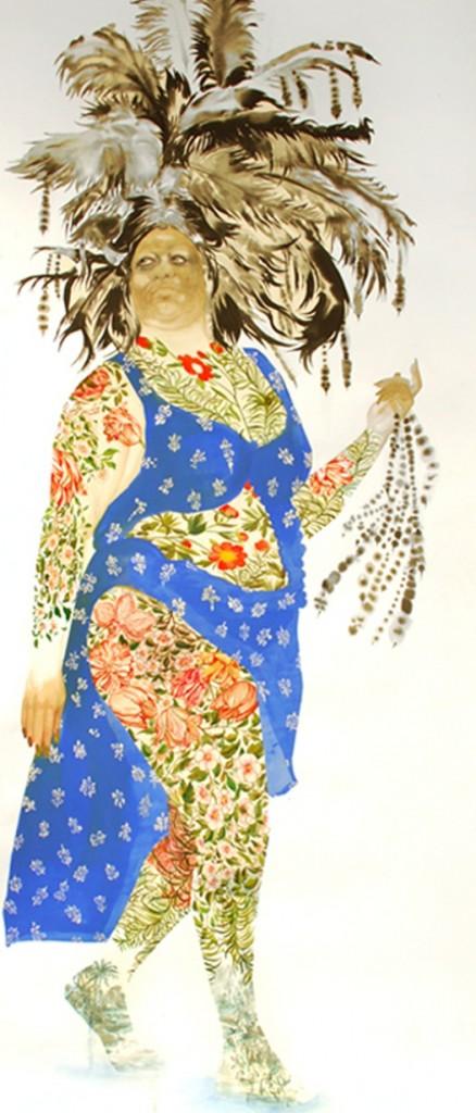 """Firelei Baez, """"Demetrea"""", 2010-11, gouache and ink on paper, 84x36inch."""