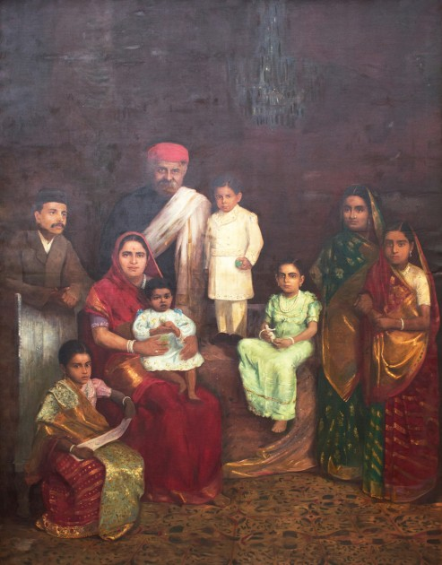 Family portrait of Sir Chinubhai Baronet, by Fyzee Rahamin, 1910 CE. Courtesy of Anil Relia.