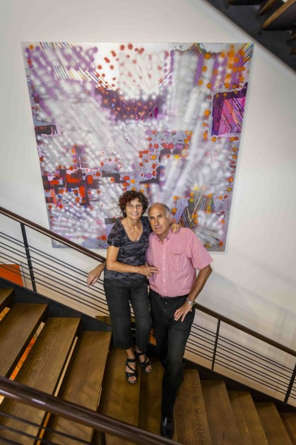 Collectors Susan and Michael Hort with a painting by the artist Keltie Ferris, .