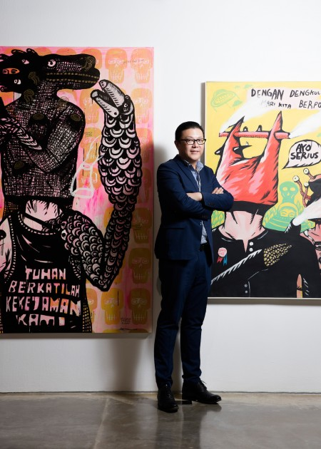 Artworks by Eko Nugroho at the back of Indonesian collector Tom Tandio. Courtesy of Tom Tandio.