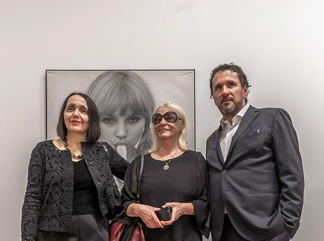 From the exhibition 'Non-Aligned Modernity. Eastern-European Art and Archives from the Marinko Sudac Collection': (left to right) Elisabetta Galasoo (CEO of FM Centre for Contemporary Art / Open Care), artist Natalia LL, and Marinko Sudac. Courtesy of Marinko Sudac.