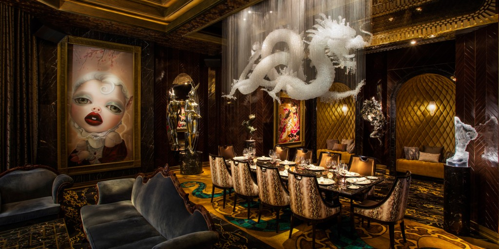 Genting Rouge Private Club artwork by artist Ray Caesar and Hajime Sorayama (on the left) and Dragon Chandelier (middle) set with Swarovski crystals created by Alan Chan Design Company. Courtesy of Alan Chan.