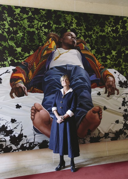 Gloria, Princess of Thurn und Taxis in front of a Kehinde Wiley painting in the castle in Regensburg. Courtesy of Robert Schmidt.