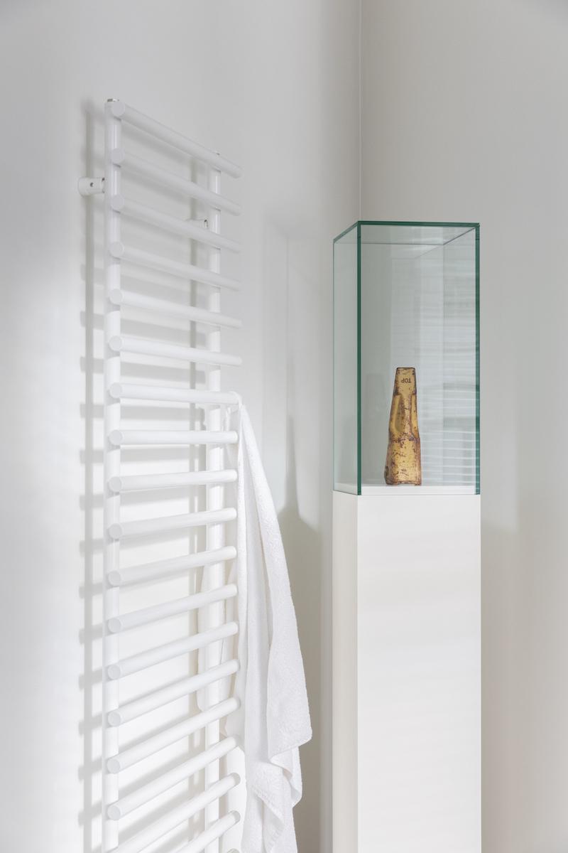 Cyprien Gaillard, Untitled (Tooth), 2012, excavator bucket tooth, show case. Courtesy of Ronald Rozenbaum.
