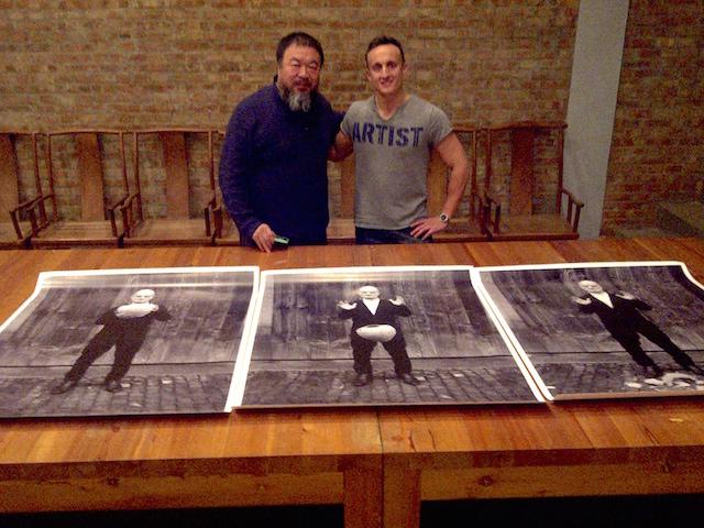 "Manuel Salvisberg and Ai Weiwei, posing in front of ""Fragments of History"". Courtesy of Manuel Savisberg."