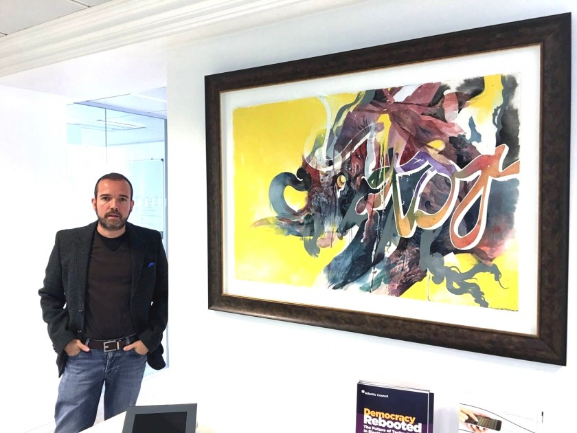 "Antonio Mugica with ""Yellow"" by Hermann Mejia. Courtesy of Antonio Mugica."