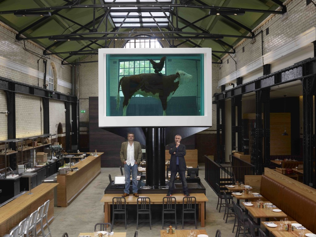 YBA artist Damien Hirst with Mark Hix at Tramshed, courtesy of