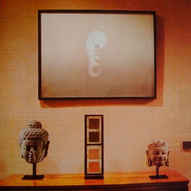 Jean-Michel's house in Paris with his art collection: (from left) Central Java Buddha head from the 8th century, sculpture by Jesús Rafael Soto, and Cham head from the 10th century. Courtesy of Jean-Michel Beurdeley.