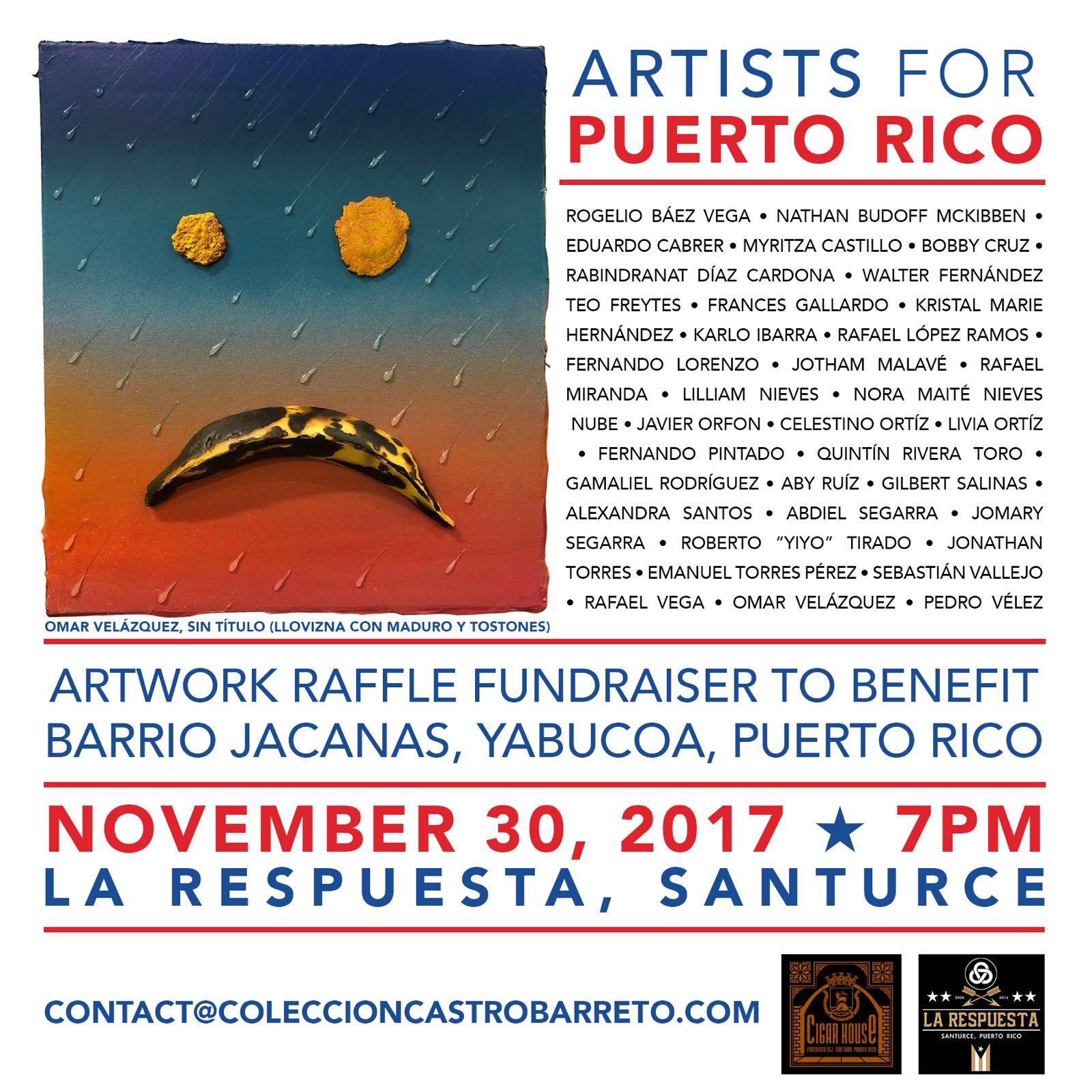 "Flyer for the raffle ""Artists for Puerto Rico"" to help The Jácanas neighborhood in Yabucoa, Puerto Rico. Courtesy of Antonio Castro Barreto."