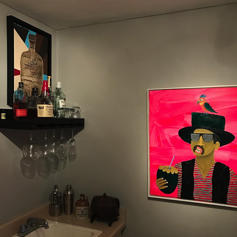 "Left: Bobby Cruz. Acrylic on canvas. Right: Radamés Juni Figueroa, ""Platanutre Man Loves Whisky Coco"". Acrylic on wood. Courtesy of Antonio Castro Barreto."
