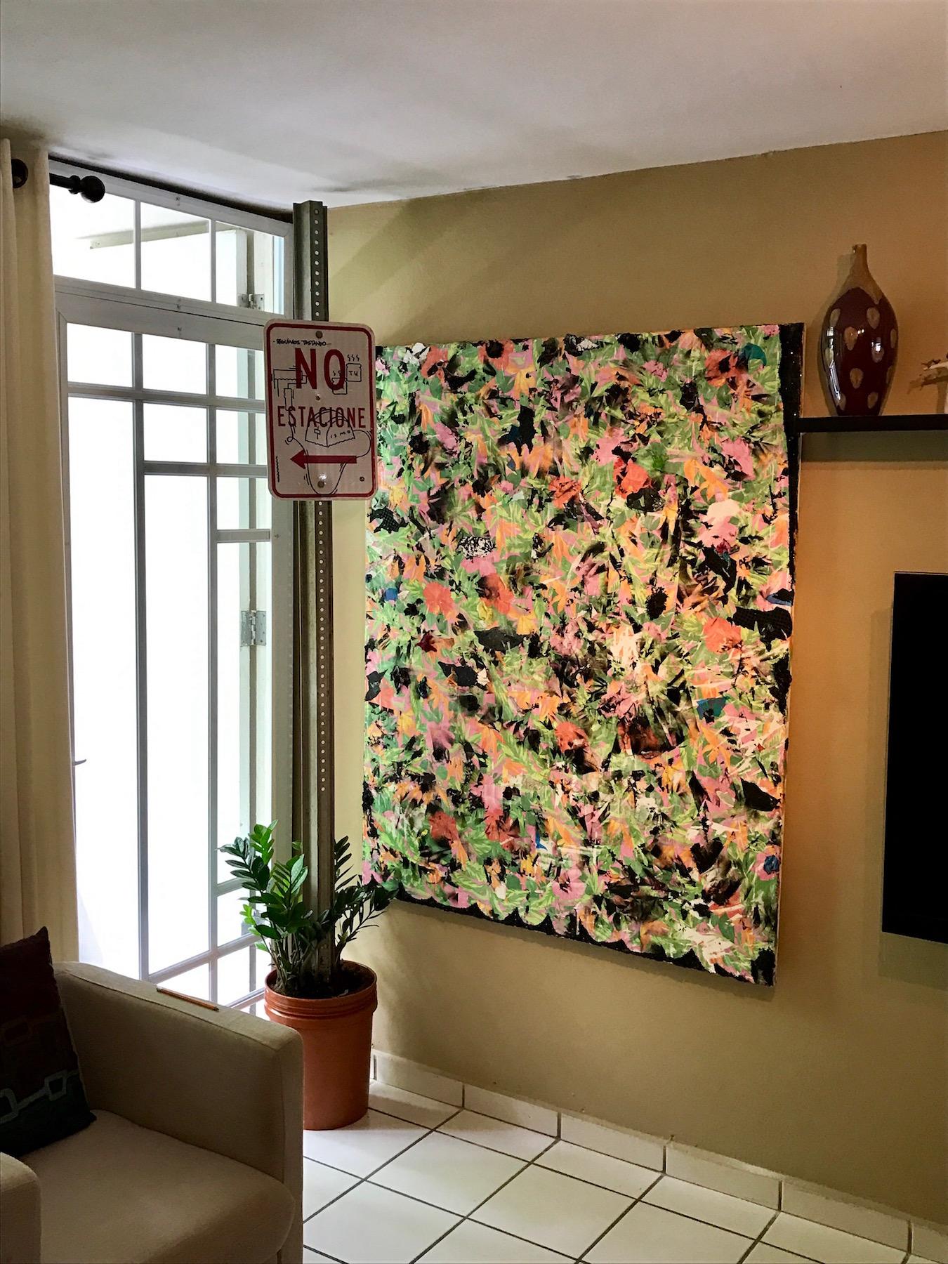 """From the left: artwork by Bik Ismo; and Sebastián Vallejo, """"Despertar en Enero 2"""", mixed media on canvas. Courtesy of Antonio Castro Barreto."""