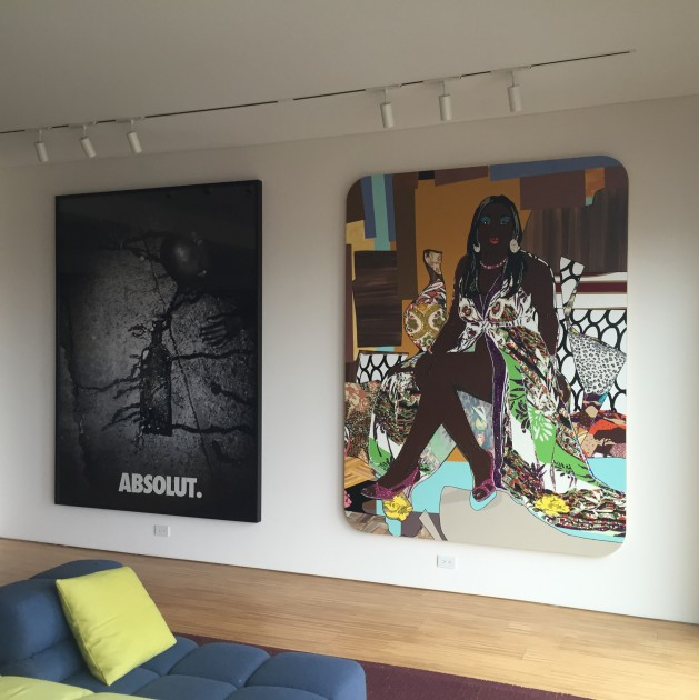 "(Left to right) ""Absolut Reality"" by Hank Willis Thomas and ""Love's Been Good To Me #2"" by Mickalene Thomas. Courtesy of Jeffrey N. Dauber."