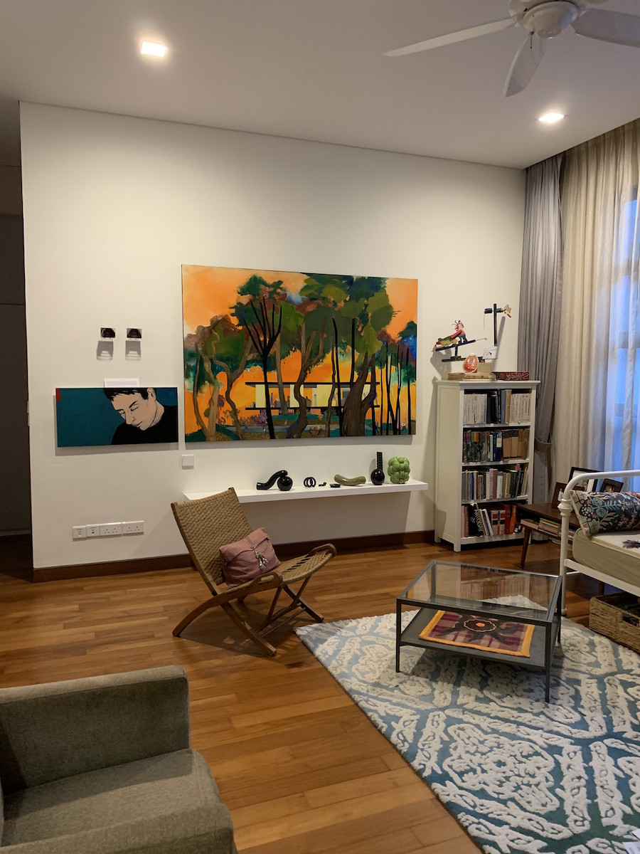 Part of the Nordenstahl collection, artworks by Lawrence Abu Hamdan (top left), painting by Vania Mignone (bottom left), large painting by Hulda Guzman, sculptures by Natalia Ortega and painting by Feliciano Centurion in the coffee table. Courtesy of Benedicta M. Badia de Nordenstahl.