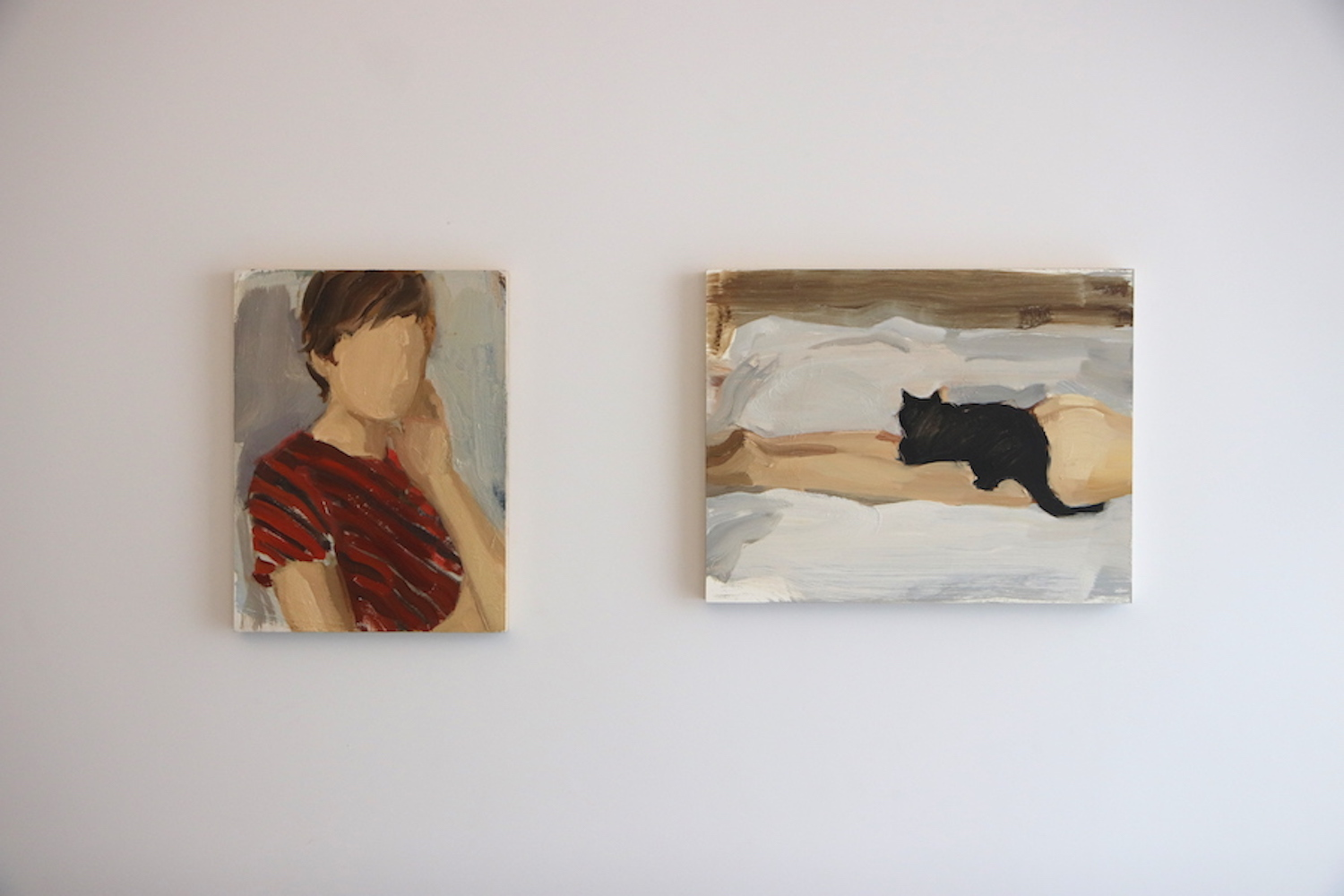The two paintings by Gideo Rubin as Hee Jae's latest purchases. Courtesy of Hee Jae Kang.
