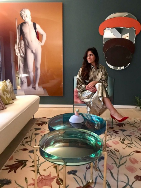 Sara Lysgaard in her art-filled living room. Courtesy of Sara Lysgaard.
