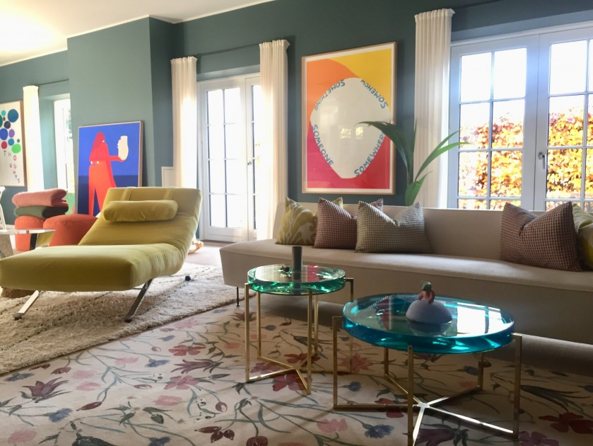 A broad view of Sara's bright-coloured living room. Courtesy of Sara Lysgaard.